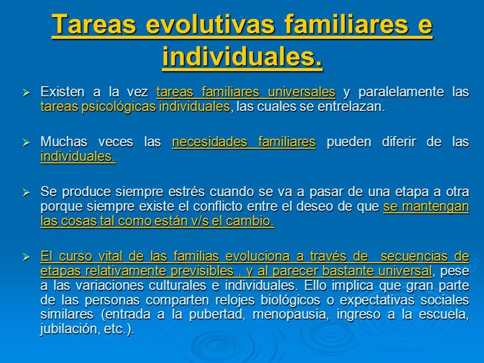 Tareas evolutivas familiares e individuales.