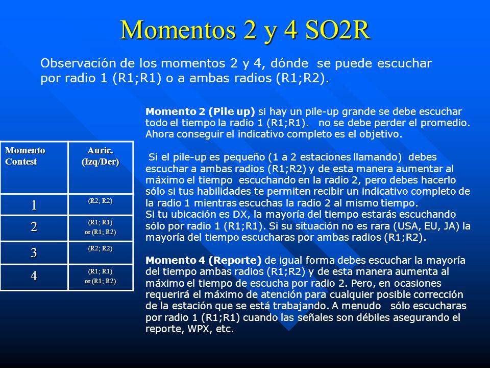 Momentos 2 y 4 SO2RObservación de los momentos 2 y 4, dónde se puede escuchar por radio 1 (R1;R1) o a ambas radios (R1;R2).