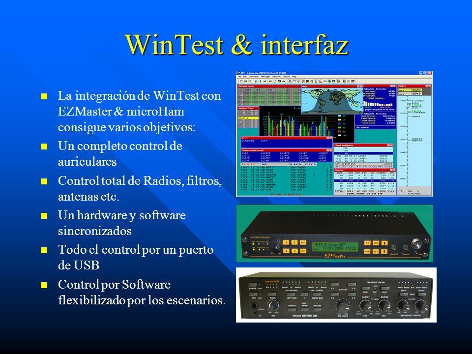 WinTest & interfazLa integración de WinTest con EZMaster & microHam consigue varios objetivos: Un completo control de auriculares.