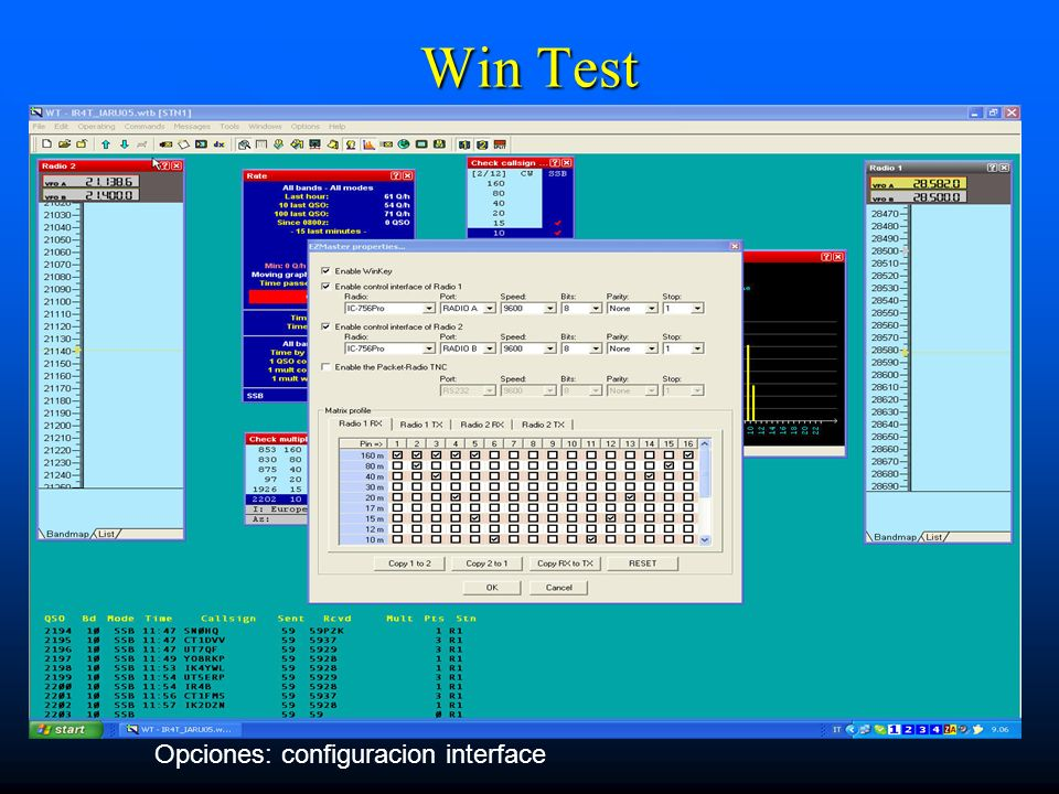 Win Test Opciones: configuracion interface