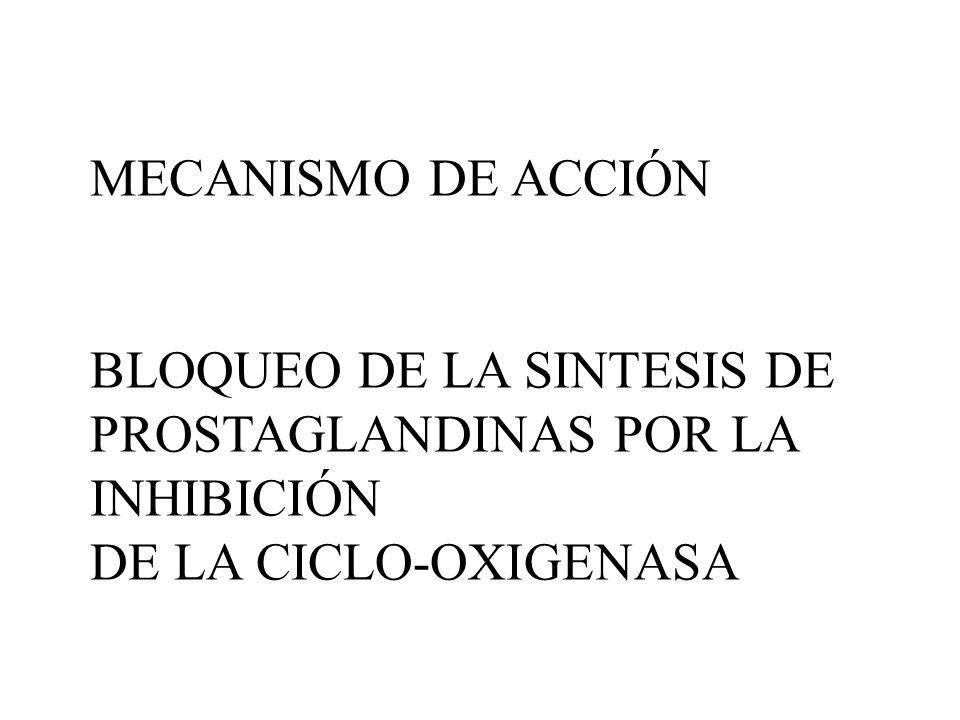 MECANISMO DE ACCIÓN BLOQUEO DE LA SINTESIS DE. PROSTAGLANDINAS POR LA INHIBICIÓN.