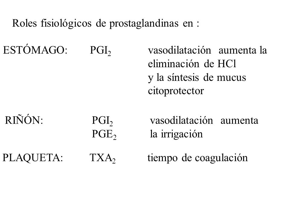 Roles fisiológicos de prostaglandinas en :
