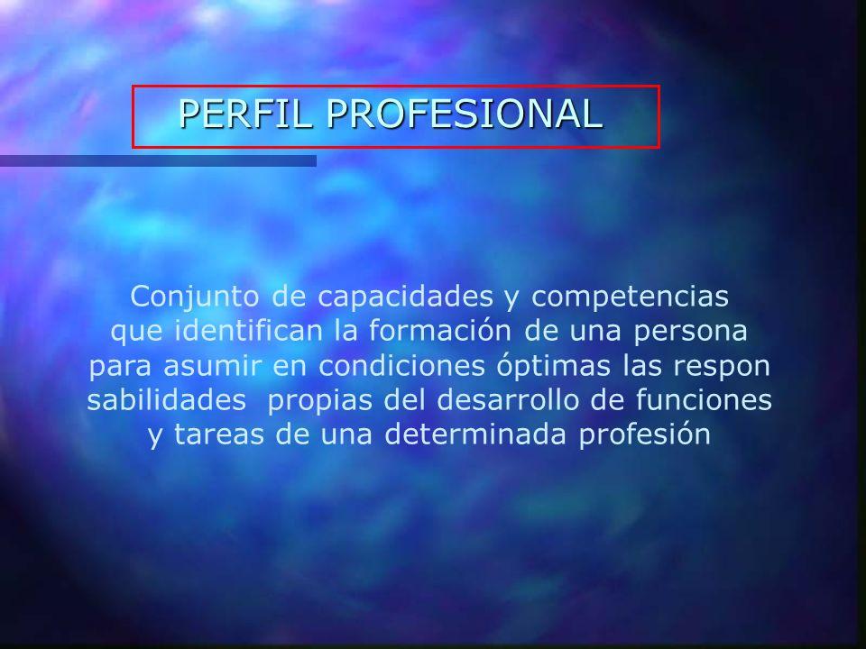 PERFIL PROFESIONAL Conjunto de capacidades y competencias