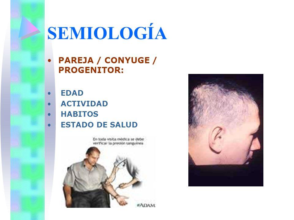 SEMIOLOGÍA PAREJA / CONYUGE / PROGENITOR: EDAD ACTIVIDAD HABITOS