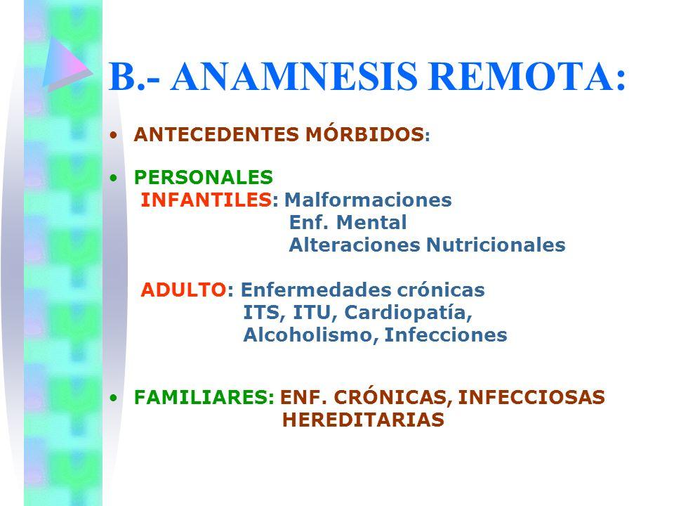 B.- ANAMNESIS REMOTA: ANTECEDENTES MÓRBIDOS: PERSONALES