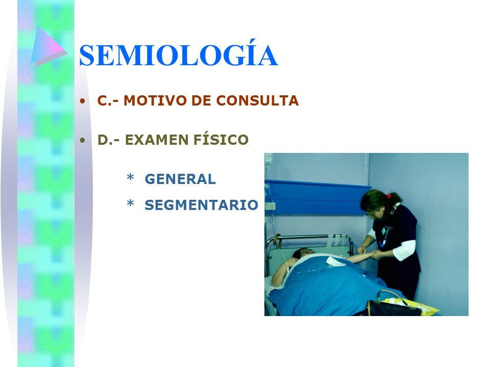 SEMIOLOGÍA C.- MOTIVO DE CONSULTA D.- EXAMEN FÍSICO * GENERAL