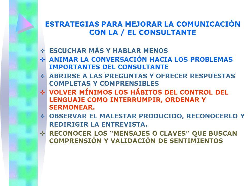 ESTRATEGIAS PARA MEJORAR LA COMUNICACIÓN CON LA / EL CONSULTANTE