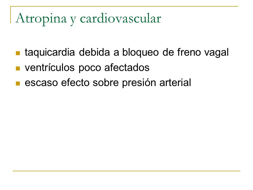 Atropina y cardiovascular
