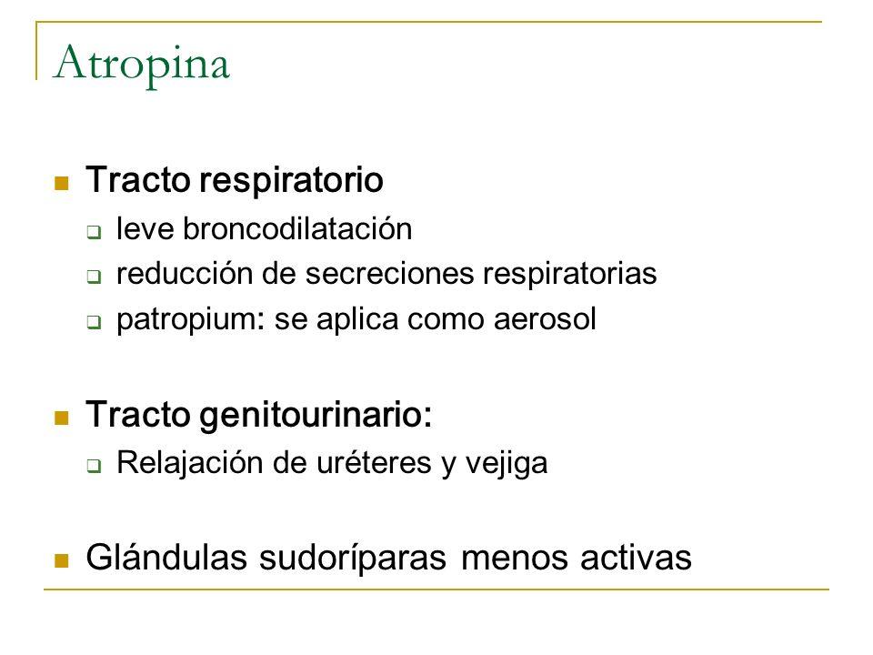 Atropina Tracto respiratorio Tracto genitourinario: