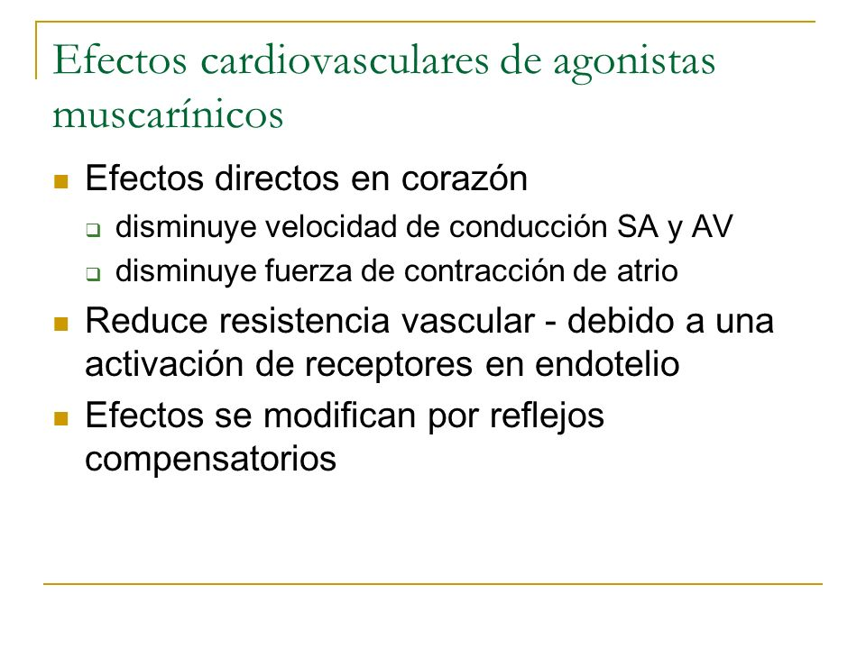 Efectos cardiovasculares de agonistas muscarínicos