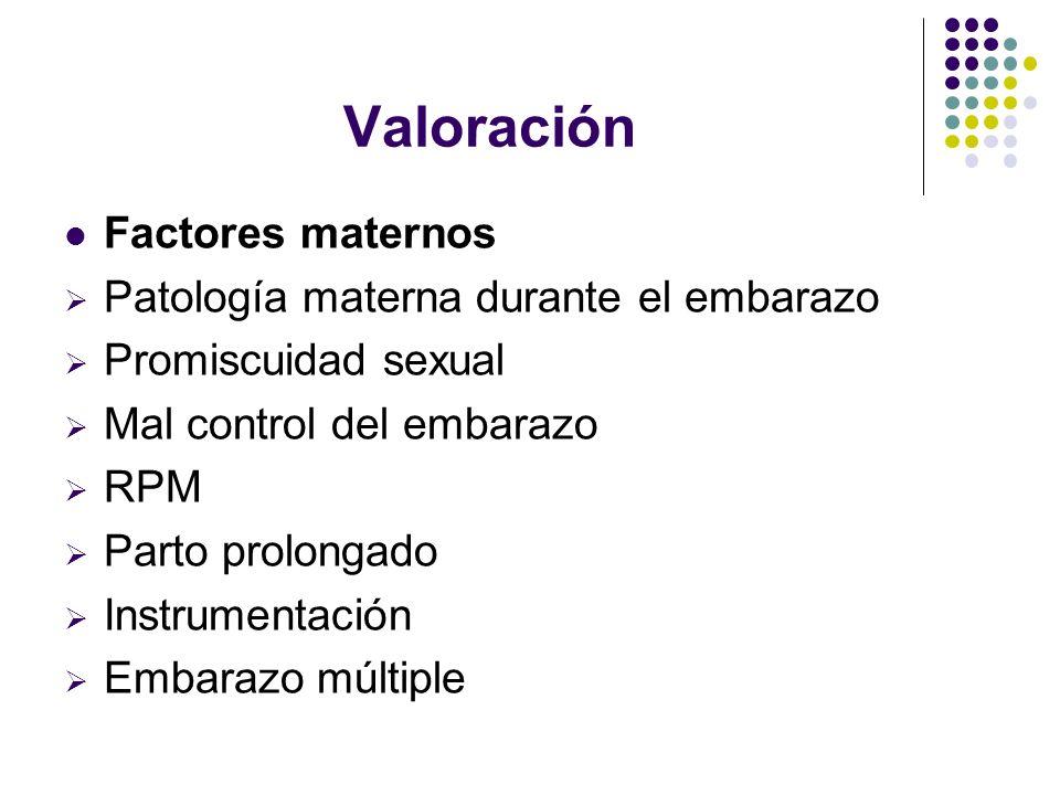 Valoración Factores maternos Patología materna durante el embarazo
