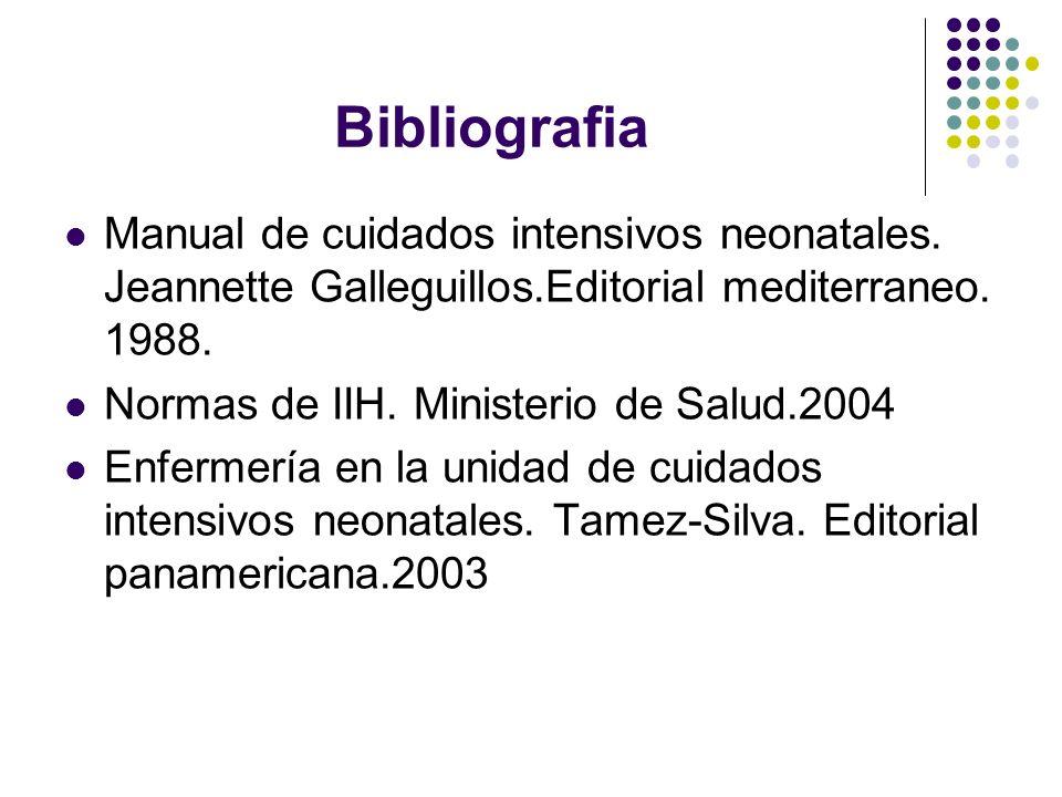 Bibliografia Manual de cuidados intensivos neonatales. Jeannette Galleguillos.Editorial mediterraneo. 1988.