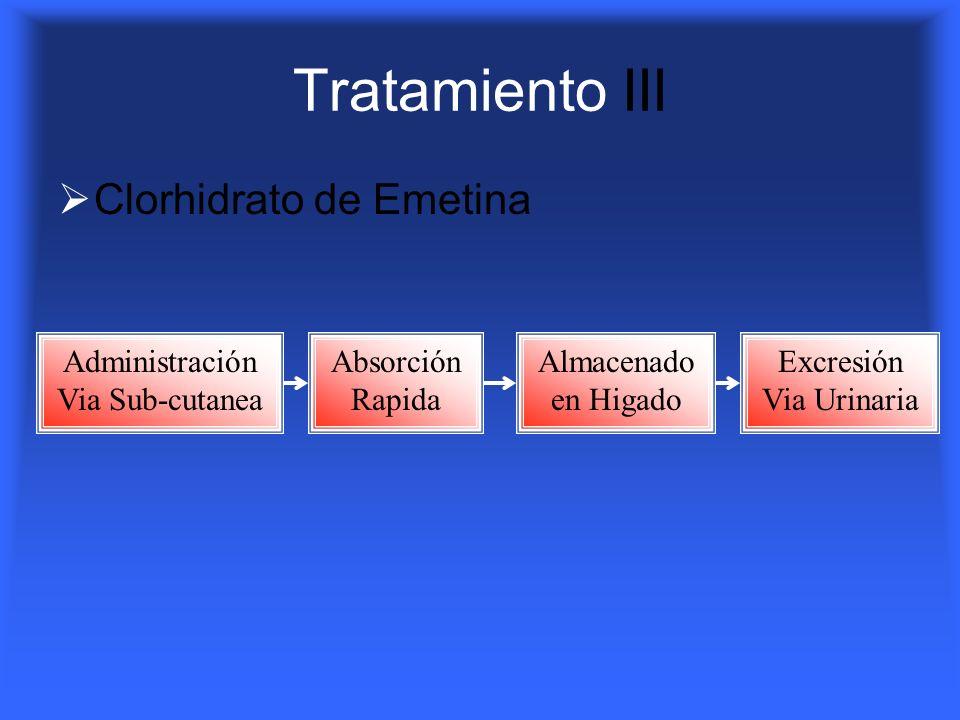 Tratamiento III Clorhidrato de Emetina Administración Via Sub-cutanea