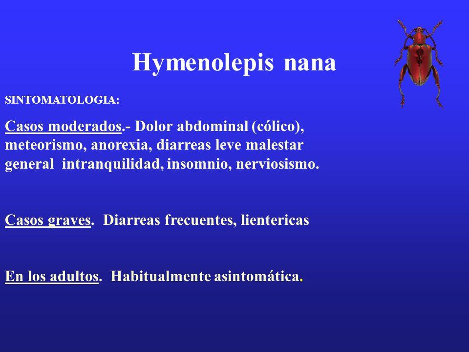Hymenolepis nana SINTOMATOLOGIA: