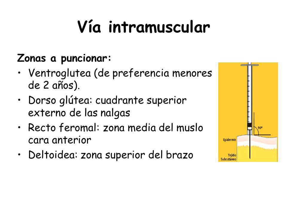 Vía intramuscular Zonas a puncionar: