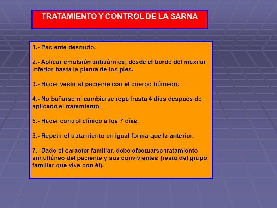 TRATAMIENTO Y CONTROL DE LA SARNA