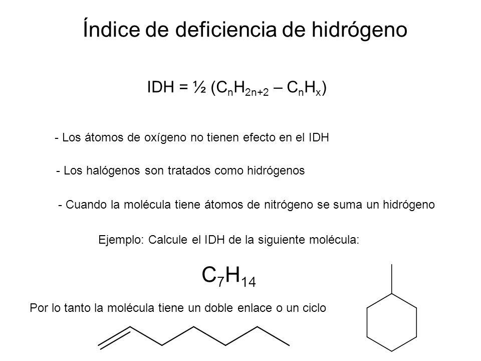 Ejemplo: Calcule el IDH de la siguiente molécula: