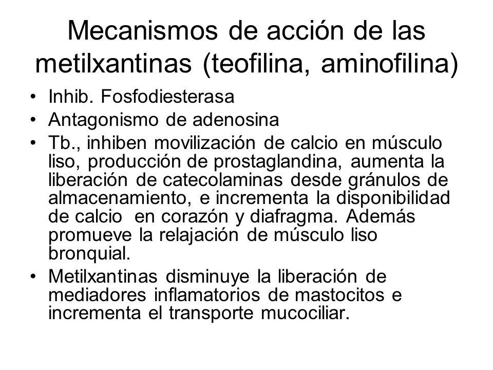 Mecanismos de acción de las metilxantinas (teofilina, aminofilina)