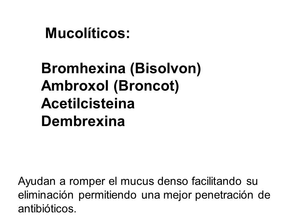 Bromhexina (Bisolvon) Ambroxol (Broncot) Acetilcisteina Dembrexina
