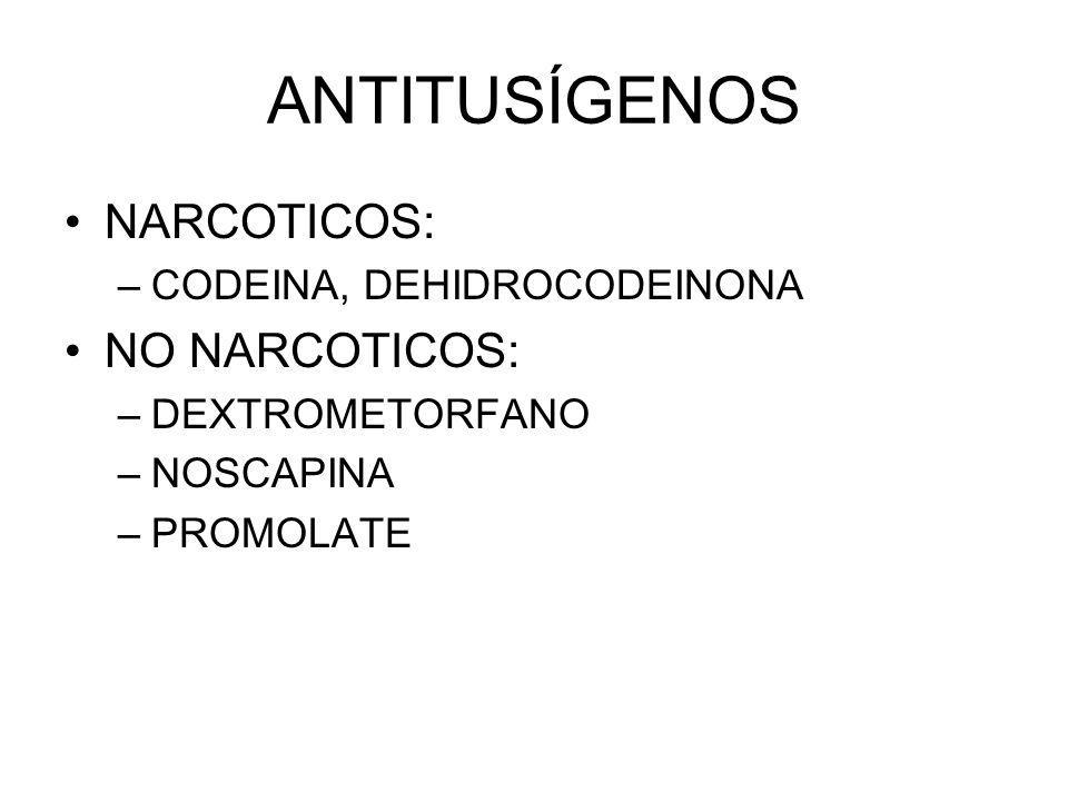 ANTITUSÍGENOS NARCOTICOS: NO NARCOTICOS: CODEINA, DEHIDROCODEINONA