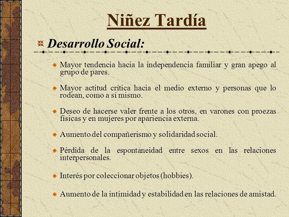 Niñez Tardía Desarrollo Social: