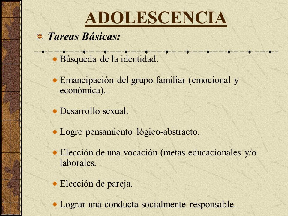ADOLESCENCIA Tareas Básicas: Búsqueda de la identidad.