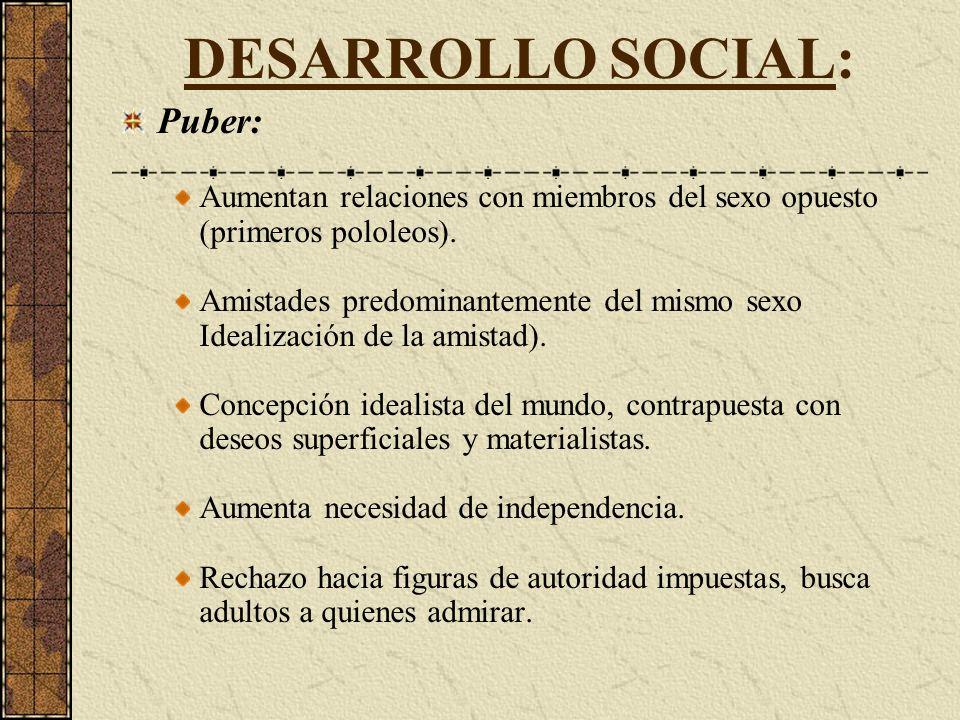 DESARROLLO SOCIAL: Puber: