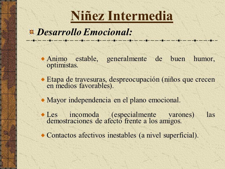 Niñez Intermedia Desarrollo Emocional: