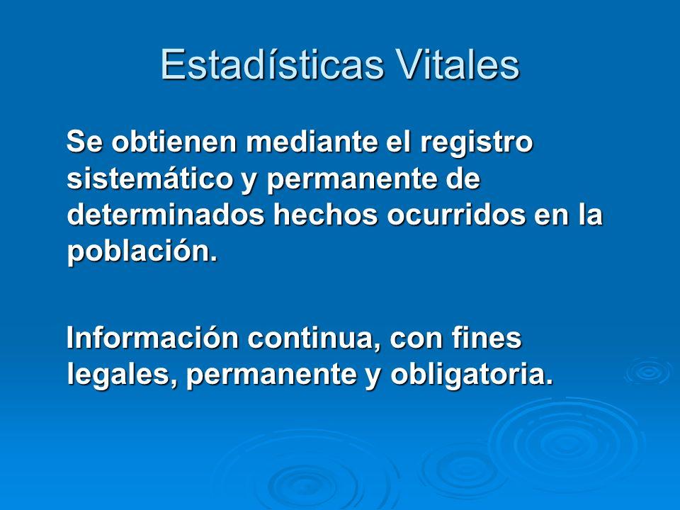Estadísticas Vitales Se obtienen mediante el registro sistemático y permanente de determinados hechos ocurridos en la población.