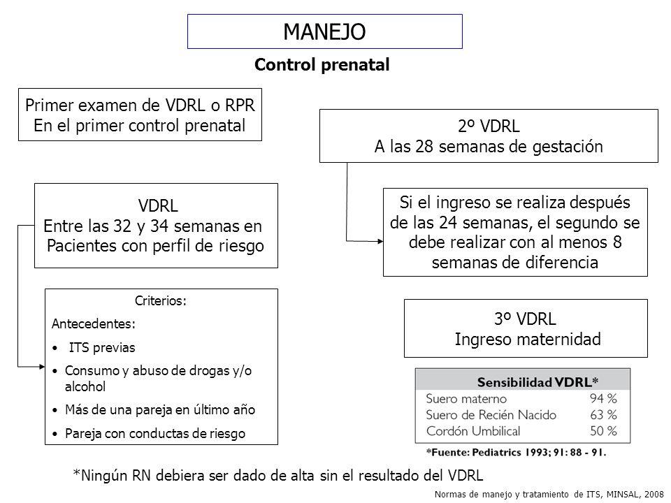 MANEJO Control prenatal Primer examen de VDRL o RPR