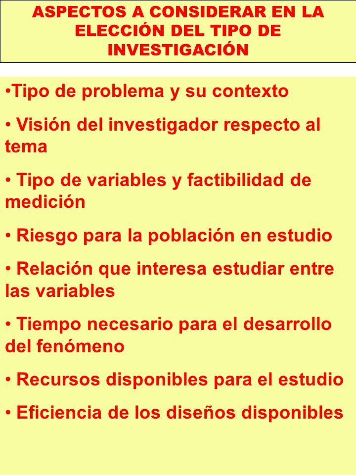 ASPECTOS A CONSIDERAR EN LA ELECCIÓN DEL TIPO DE INVESTIGACIÓN