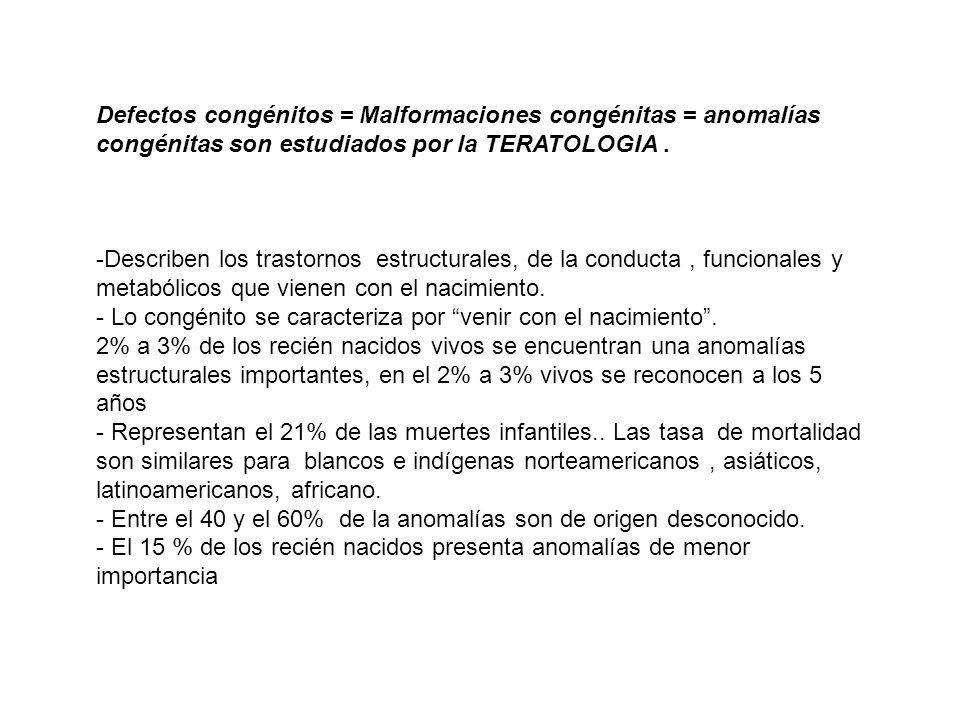 Defectos congénitos = Malformaciones congénitas = anomalías congénitas son estudiados por la TERATOLOGIA .