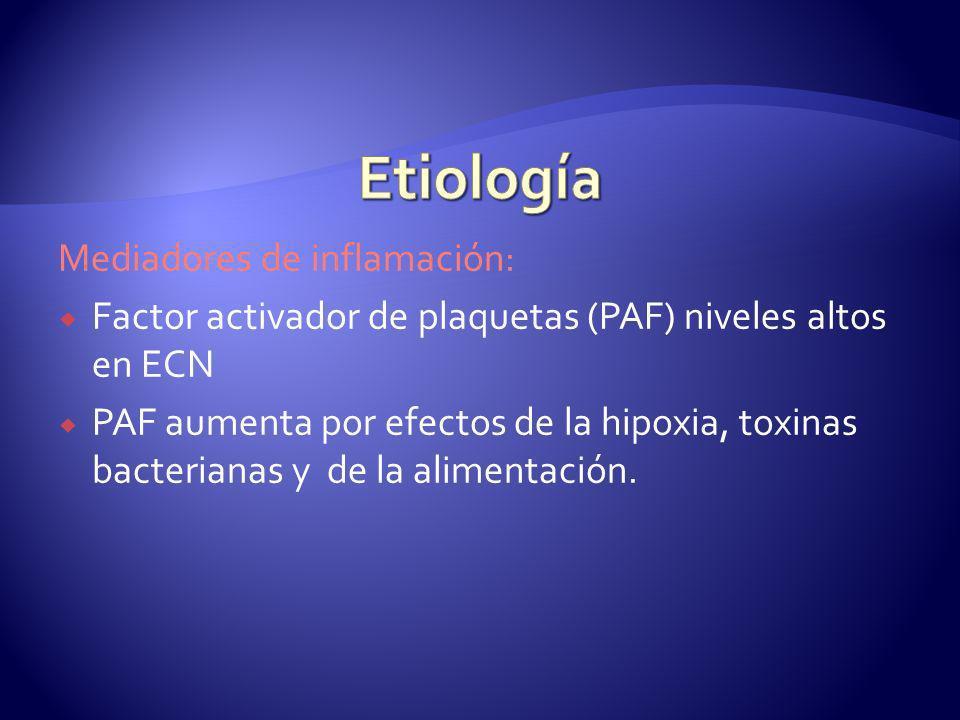 Etiología Mediadores de inflamación: