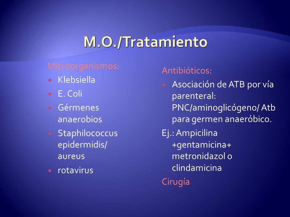 M.O./Tratamiento Microorganismos: Antibióticos: Klebsiella