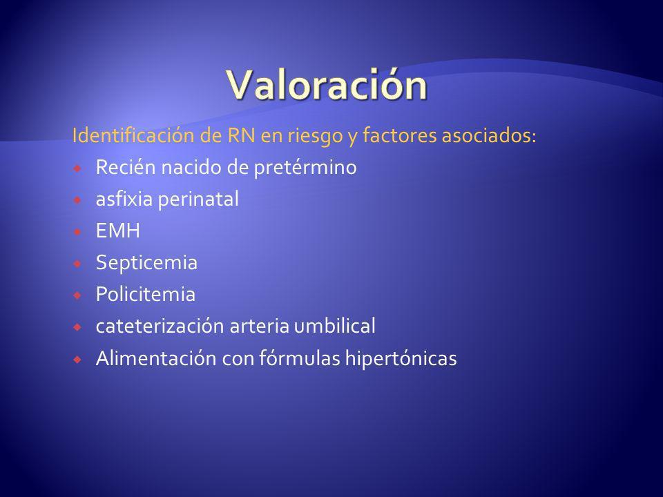 Valoración Identificación de RN en riesgo y factores asociados: