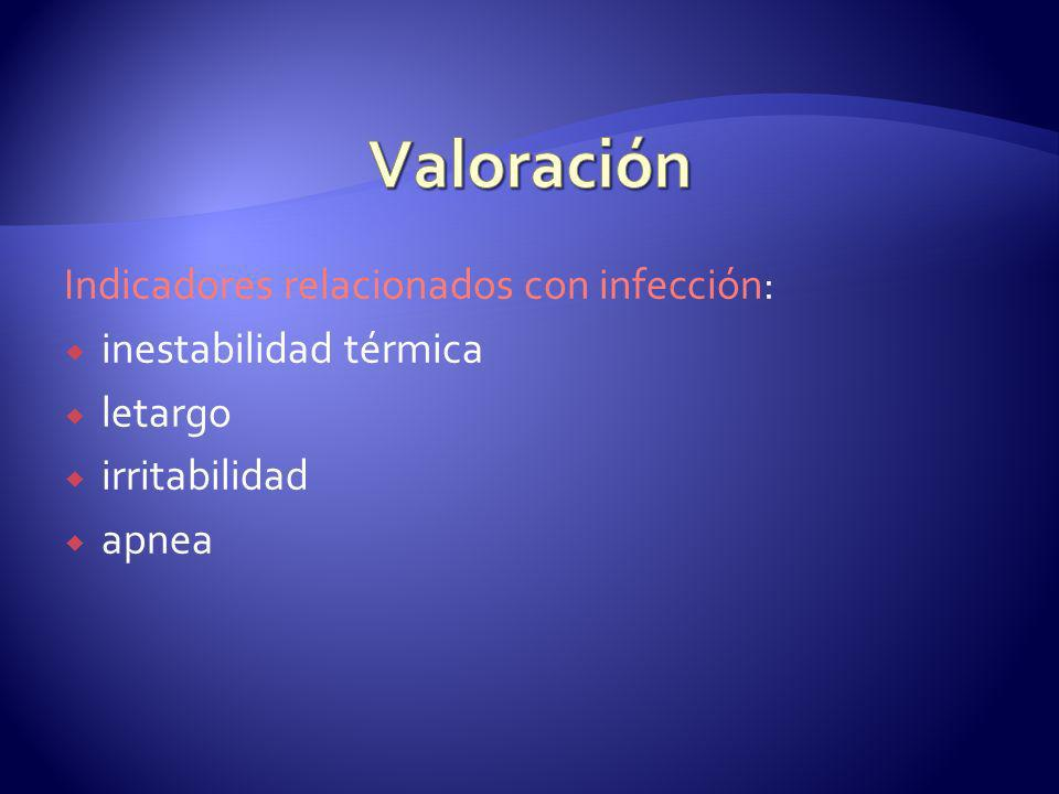 Valoración Indicadores relacionados con infección: