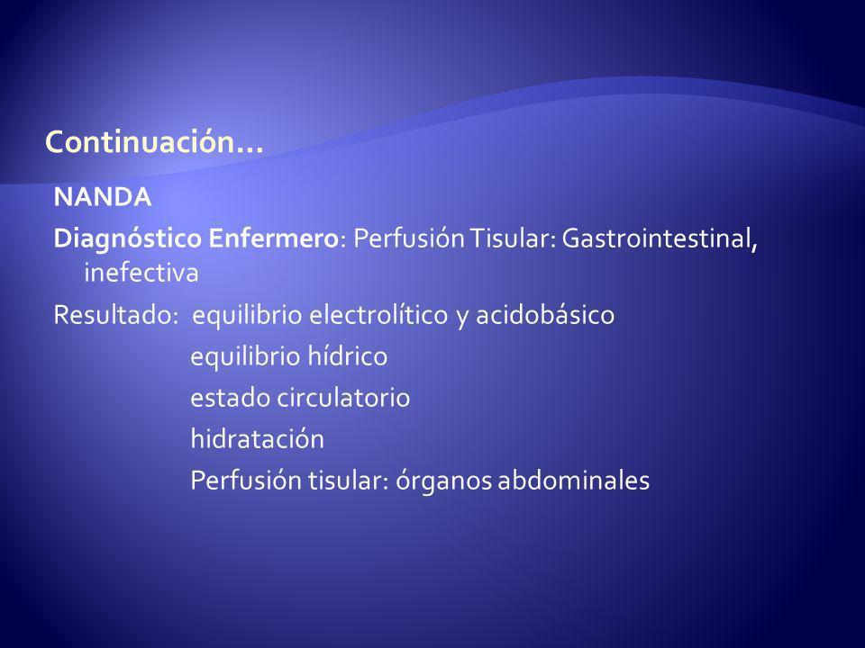 Continuación… NANDA. Diagnóstico Enfermero: Perfusión Tisular: Gastrointestinal, inefectiva. Resultado: equilibrio electrolítico y acidobásico.