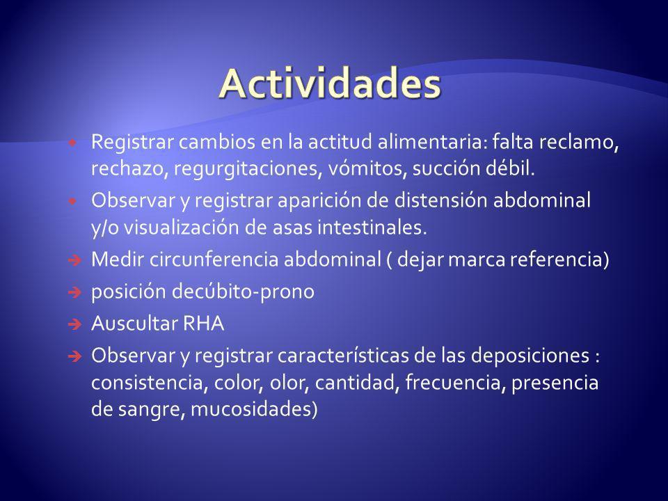 Actividades Registrar cambios en la actitud alimentaria: falta reclamo, rechazo, regurgitaciones, vómitos, succión débil.
