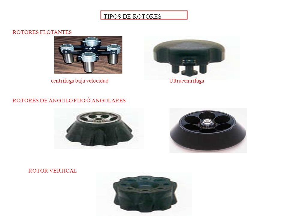TIPOS DE ROTORES ROTORES FLOTANTES centrífuga baja velocidad