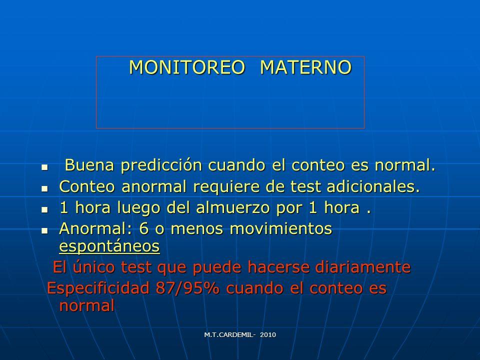MONITOREO MATERNO Buena predicción cuando el conteo es normal.