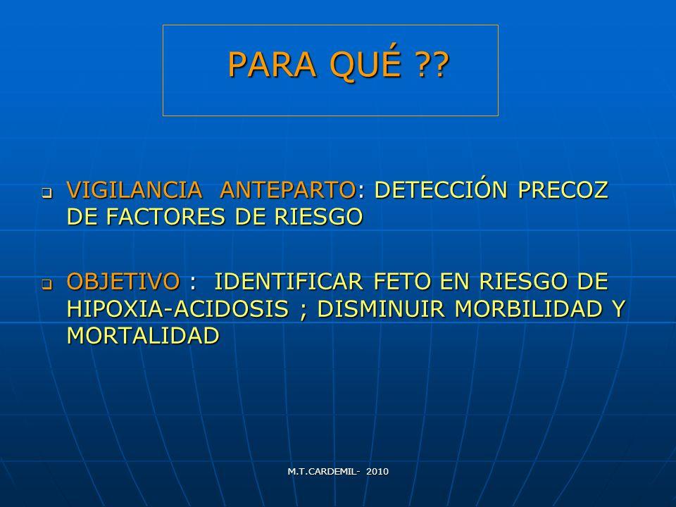 PARA QUÉ VIGILANCIA ANTEPARTO: DETECCIÓN PRECOZ DE FACTORES DE RIESGO.