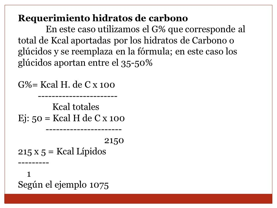 Requerimiento hidratos de carbono