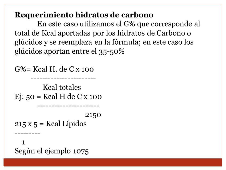 Requerimiento hidratos de carbono