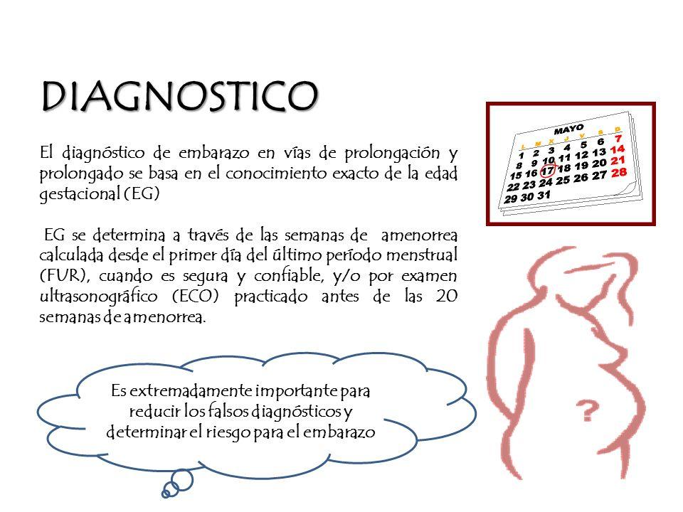 DIAGNOSTICO El diagnóstico de embarazo en vías de prolongación y prolongado se basa en el conocimiento exacto de la edad gestacional (EG)