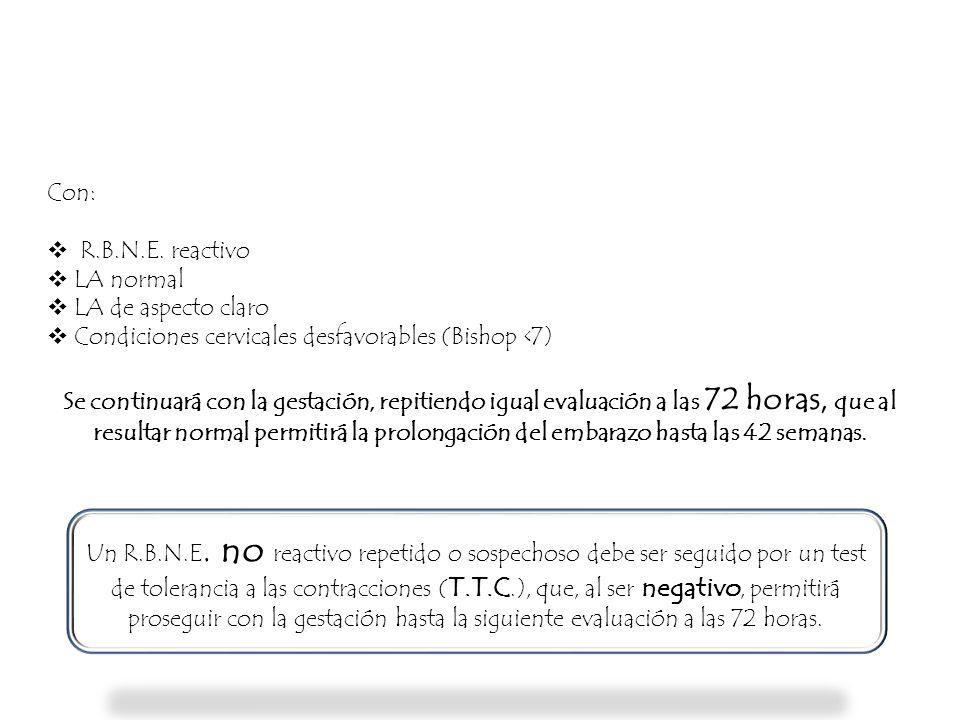 Con: R.B.N.E. reactivo. LA normal. LA de aspecto claro. Condiciones cervicales desfavorables (Bishop <7)