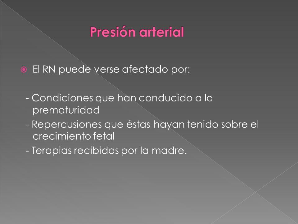 Presión arterial El RN puede verse afectado por:
