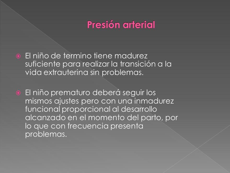 Presión arterial El niño de termino tiene madurez suficiente para realizar la transición a la vida extrauterina sin problemas.