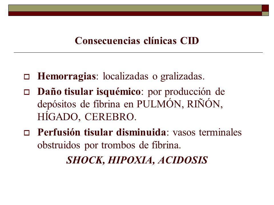 Consecuencias clínicas CID