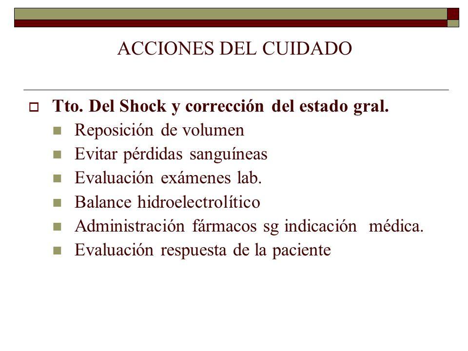 ACCIONES DEL CUIDADO Tto. Del Shock y corrección del estado gral.