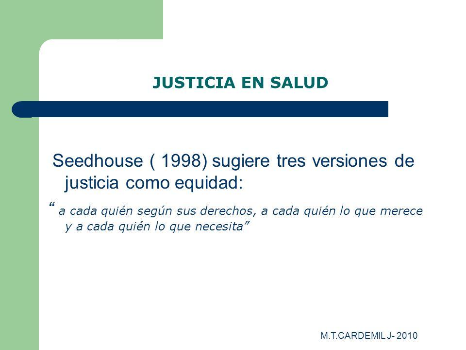 Seedhouse ( 1998) sugiere tres versiones de justicia como equidad: